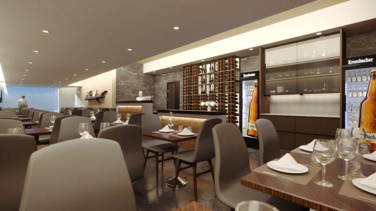 interior restaurante com vista bacão